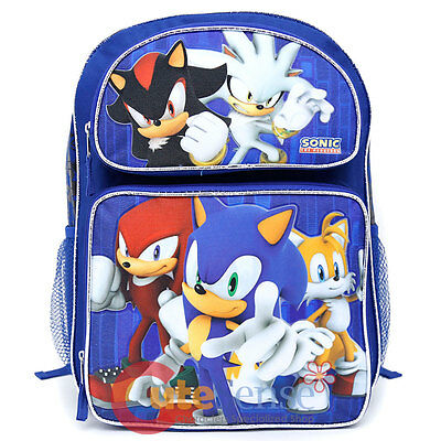 """Sonic The Hedgehog Large School Backpack 16"""" Book Bag Shadow Silver Sonic"""