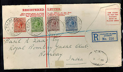 1915 Stanley Falkland Islands Registered Cover front to Bombay India # 30-33