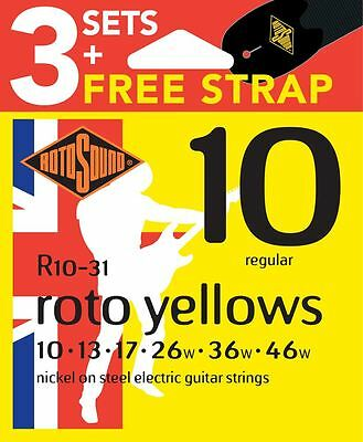 Rotosound R10 Nickel Plated Electric Guitar Strings x3 Sets FREE Strap 10-46