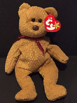 TY Beanie Baby CURLY The BEAR Canadian DOUBLE Tush 1993 NWMT Beanie Babies