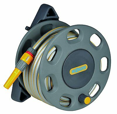 Hozelock Wall Mounted Compact Garden Reel With 15m Hose Watering Equipment Set