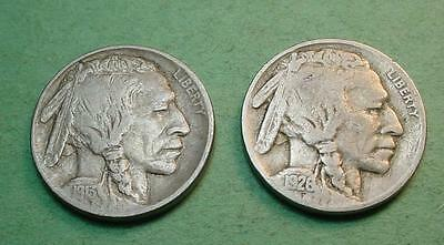 1913-D Type 1 Vf/xf   Buffalo Nickel & 1926-P Vg  Bonus Coin<>Pf397