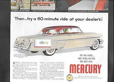 "Mercury Motor Cars 1953 V-8 Monterey 60 Second Ride O Nthis Page 10"" X 13.5"" Ad"
