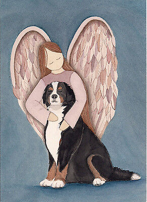 Bernese Mountain Dog with angel / Lynch signed folk art print