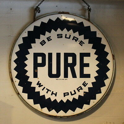 Vintage Large Pure Gas Oil Double Sided Porcelain Sign 6 Feet High with Ring