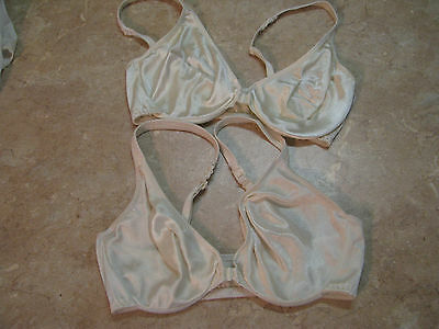 VICTORIA SECRET Vintage? IVORY SATIN Front Close UNDERWIRE BRA Lot of 2, 32D