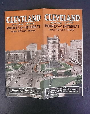 1925 Cleveland Ohio vintage Chamber of Commerce city road map brochure b