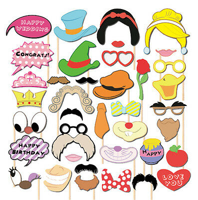 38pcs Wedding Birthday Photo Booth Props Mask Christmas Party Photography Sticks