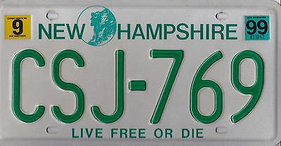 Authentic Usa 1999 New Hampshire License Plate.  Live Free Or Die