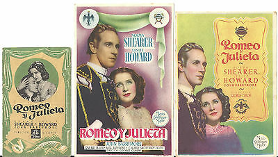 Romeo And Juliet Norma Shearer Leslie Howard Set Of 3 Spanish Herald Mini Poster