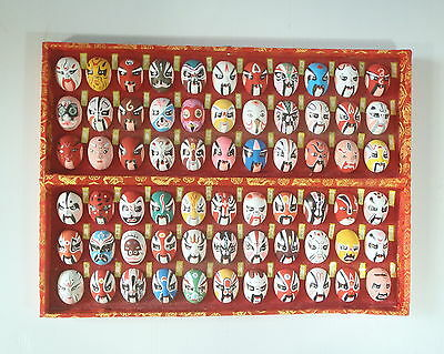 Vintage Beijing Opera Mask Set Of 66 Silk Case Hand Painted c mid 1900s c