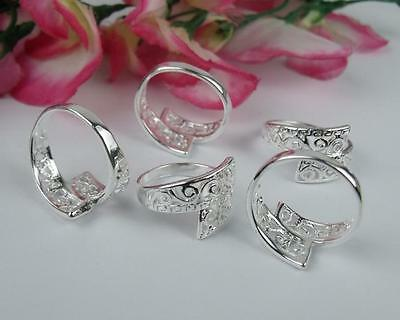 NICE !! Wholesale 5pcs A+ 925 Silver Plated Hollow Pattern Rings 6-8