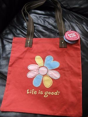 Life is Good Daisy tote bag shopper purse orange