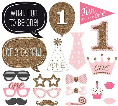 20x 1st First Birthday Photo Booth Props Pink Girl Baby Shower Party Photography