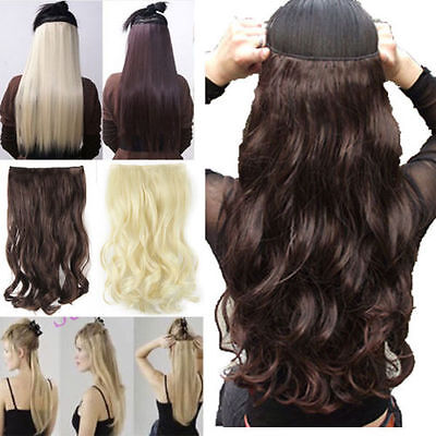 UK Seller Clip in hair extensions one piece half full head real synthetic brown
