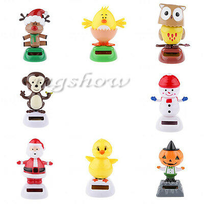 8 Types Cute Solar Powered Dancing Toys For Table Desk Home Car Xmas Decor