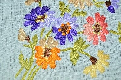 Spring Rainbow Bouquets! Vintage German Hand Embroidered Tablecloth