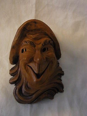 Vintage Austria Carved Wood Head Wall Ornament Black Forest #I