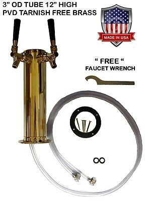 "Double Faucet 3"" Brass  Draft Beer Tower  - D4743DTBR -"