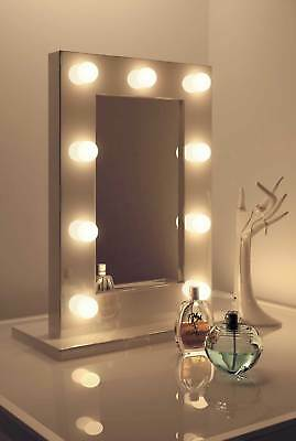 Diamond X Gloss White Hollywood Makeup Mirror Warm White Dimmable LED k217WW