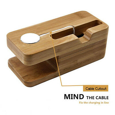 Bamboo Wood Stand Holder For Iphone Apple Watch Base Docking Phone Accessories