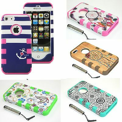 For Apple iPhone 5 5c Hybrid Rugged ShockProof Tough Hard Case Protective Cover