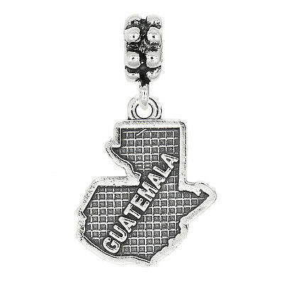 Lgu Sterling Silver Oxidized Textured Country Map of Switzerland Dangle Bead Charm