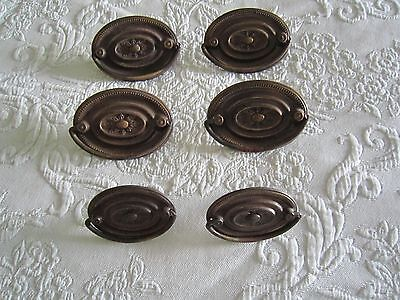 6 Vintage Art Deco Style Decorative Oval DRESSER DRAWER HANDLE PULLS