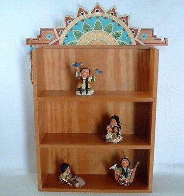 FRIENDS OF THE FEATHER DISPLAY CABINET w/ 4 MINIATURE Native Boys Girls FRIENDS