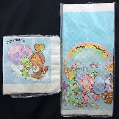 Vintage Care Bears Cousins Paper Party Tablecloth & Napkins Unopened