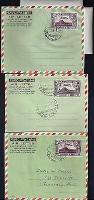Ethiopia 1951 53 First Three Air Letters With Fdc Fg 1 3