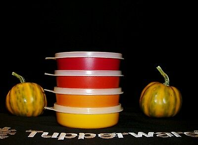 Tupperware AUTUMN 4 Little Wonder 6oz lunchbox snack Bowls ~SHEER Seals / Lids