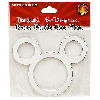 Disney Parks Mickey Mouse Icon Silver Chrome Car SUV Sticker Emblem Decal (NEW)