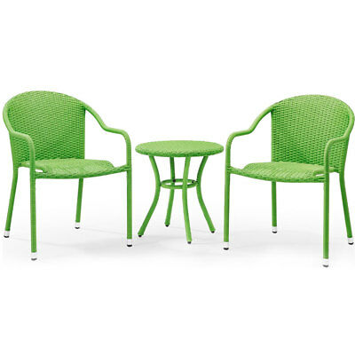 Crosley KO70060GR 3-Piece Palm Harbor Outdoor Wicker Cafe Seating Set - Green