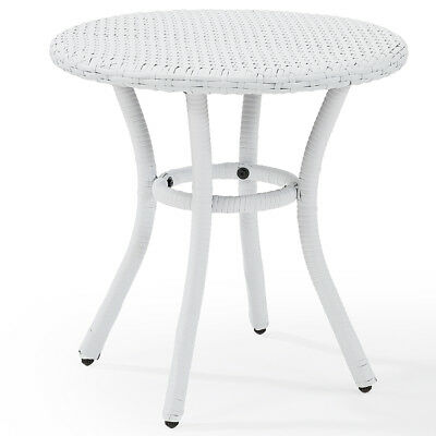 Crosley CO7217-WH Palm Harbor Outdoor Wicker Round Side Table - White