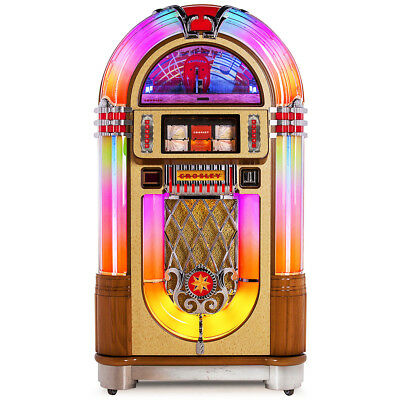 Crosley CR1208A-OA 80-Disc 4-Channel Bluetooth-Enabled Slimline Jukebox