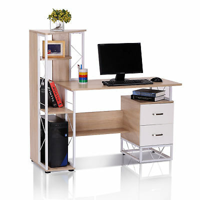 HOMCOM Computer Desk Workstation Laptop Drawer Shelf Office Home Bookshelf
