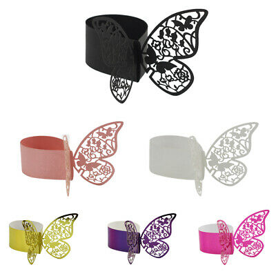 50Pcs Butterfly Napkin Ring Serviette Buckle Wedding Banquet Table Decor