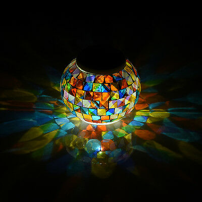 Mosaic Glass Ball Color Changing LED Solar Power Lamp Outdoor Light Waterproof