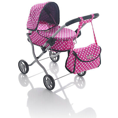 Molly Dolly 55cm My First Mini Dolls Pram Girls Pushchair Stroller Pink Polka