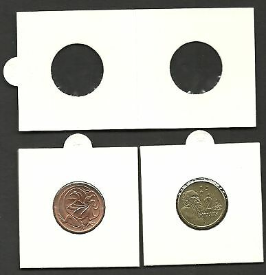 COIN HOLDERS 2 x 2 Staple Type 22mm Suits $2 & 2c Coins - PACK of 100 Holders