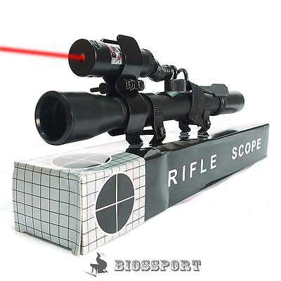 4X20 SNIPER Hunting Air Rifle Optics Crossbow Scope FREE Red Laser Sight & Mount