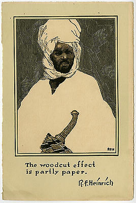 Antique Print-TRIBAL MAN-TUAREG-DAGGER-TURBAN-Heinrich-ca. 1910