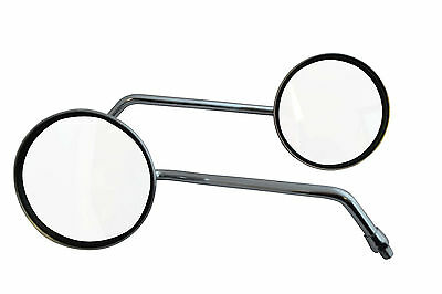 Pair of Chrome Round Scooter Moped Small Bike Mirrors - Universal Fit - 8mm
