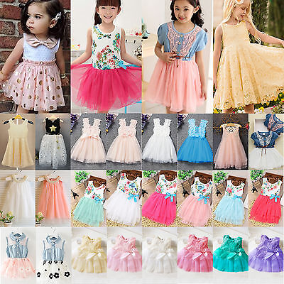 Sweet Kids Baby Girls Tulle Tutu Flower Vest Skirt Princess Dress Summer Clothes