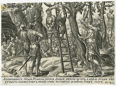 Antique Print-JOSHUA-HANGS-FIVE KINGS-AMORITE-Groeningen-Muller-ca. 1580
