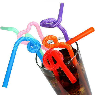 100 x Jumbo Assorted Colours Flexi Necks Party Straws Cocktail Drink Disposable
