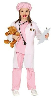 Girls Pink Vet Uniform Veterinary Surgeon TV Fancy Dress Costume Outfit 3-9 yrs