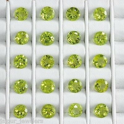 20 Pc WHOLESALE LOT OF 4x4mm ROUND FACET NATURAL EARTH MINED PERIDOT GEMSTONE