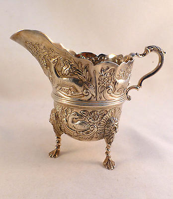 Unique English Sterling London 1896 Figural Animals Footed Milk Jug